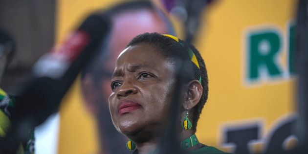 ANC Women's league President Bathabile Dlamini looks on during a press conference at the 54th National...