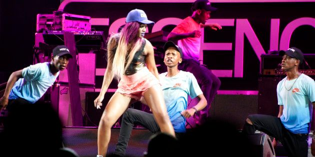 Musician Babes Wodumo performs during the Essence Festival All Star music concert at the Moses Mabhida...