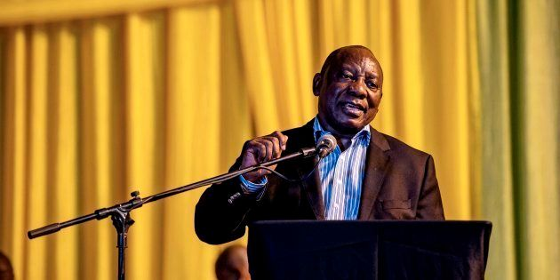 South African Deputy President Cyril Ramaphosa gives a public lecture at the Orlando Communal Hall on...