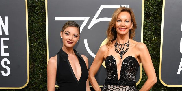 Los Angeles: Miss Universe 2017, Demi-Leigh Nel-Peters (L), and Miss Universe 1978, Margaret Gardiner,...