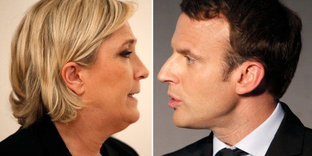 Marine Le Pen (L), French National Front (FN) political party leader, and Emmanuel Macron, head of the...