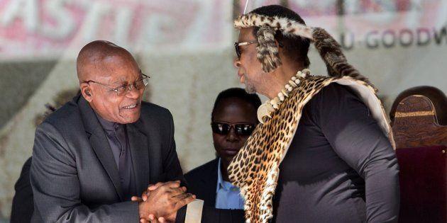 President Jacob Zuma greets Zulu King Goodwill