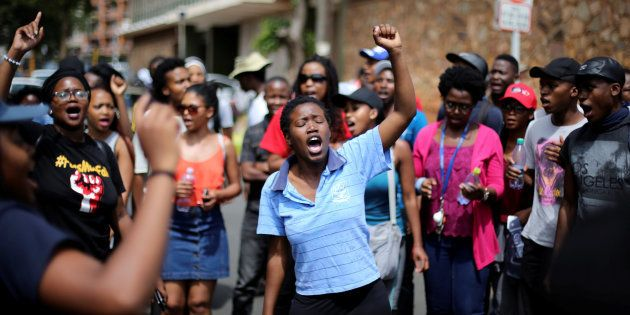 Students outside the Hillbrow Magistrates' Court during an appearance of colleagues arrested during a...