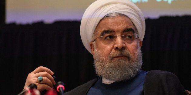 Iran's President Hassan Rouhani delivers remarks at a news conference during the United Nations General...