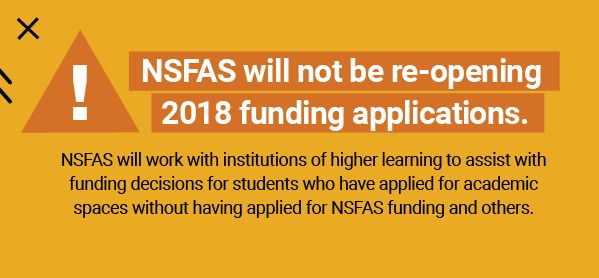NSFAS Will Not Reopen 2018 Funding