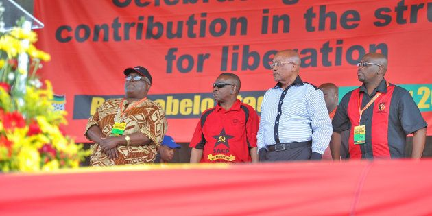 Happier days: President Jacob Zuma during Cosatu's Workers' Day rally at the Botshabelo stadium in Botshabelo...