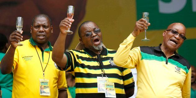 Zweli Mkhize, Gwewde Mantashe and ANC President Jacob Zuma toasting during the launch of the ANC's Election...