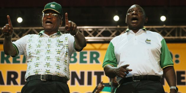 South African President Jacob Zuma and Cyril Ramaphosa, South Africa's deputy president and president...