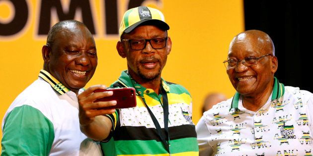 Cyril Ramaphosa (L), Jacob Zuma (R) and Pule Mabe during the 54th national conference of the ANC. December...