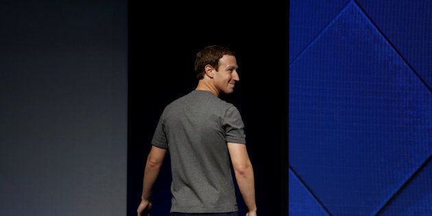 Facebook Founder and CEO Mark Zuckerberg exits the stage during the annual Facebook F8 developers conference...