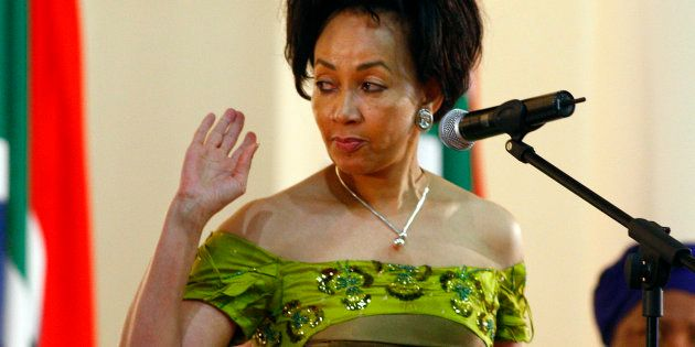 Lindiwe Sisulu being sworn in as defence minister at the presidential guest house in Pretoria on May...