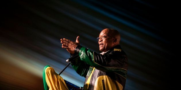 President Jacob Zuma gestures during celebrations for his 75th birthday on April 12, 2017 in Kliptown,