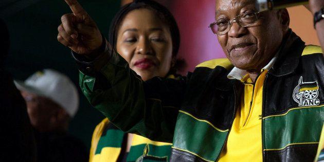 President Jacob Zuma addresses crowds gathered to celebrate his 75th birthday in Kliptown, Johannesburg,...