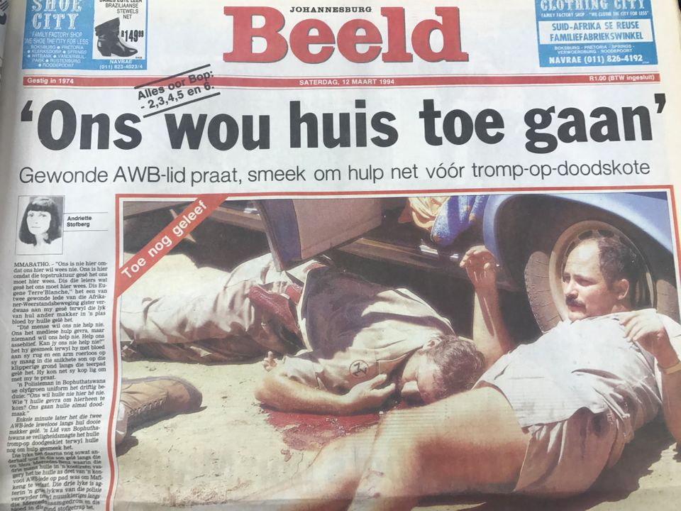 Beeld newspaper's front page on March 12 1994 after the execution of three AWB members in the former