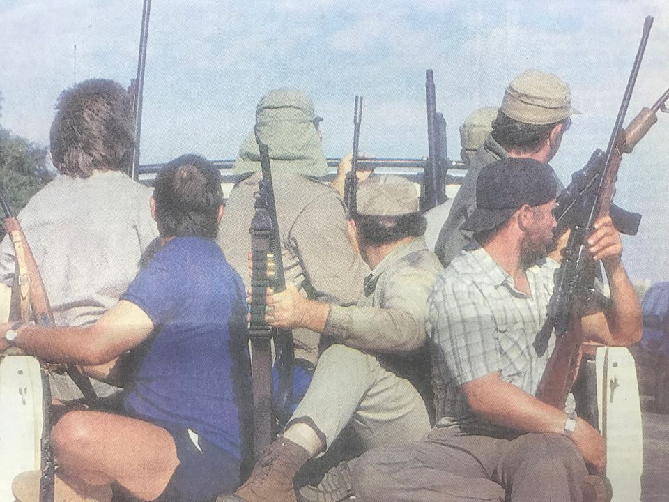 Armed members of the AWB in Bophuthatswana during the violence that led to the end of Lucas Mangope's