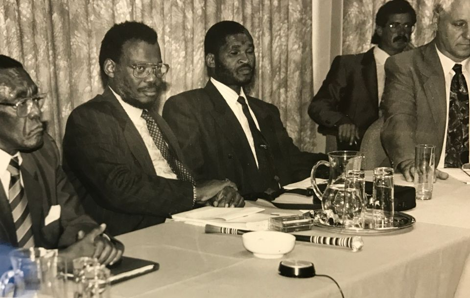 Lucas Mangope along with other opponents of the 1994 election, inlcuding Mangosuthu Buthelezi and General...