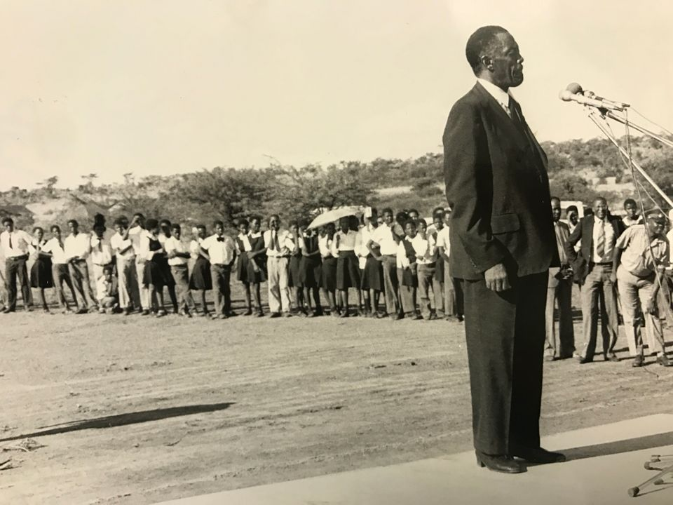 Lucas Mangope addressing citizens of Bophuthatswana in an undated
