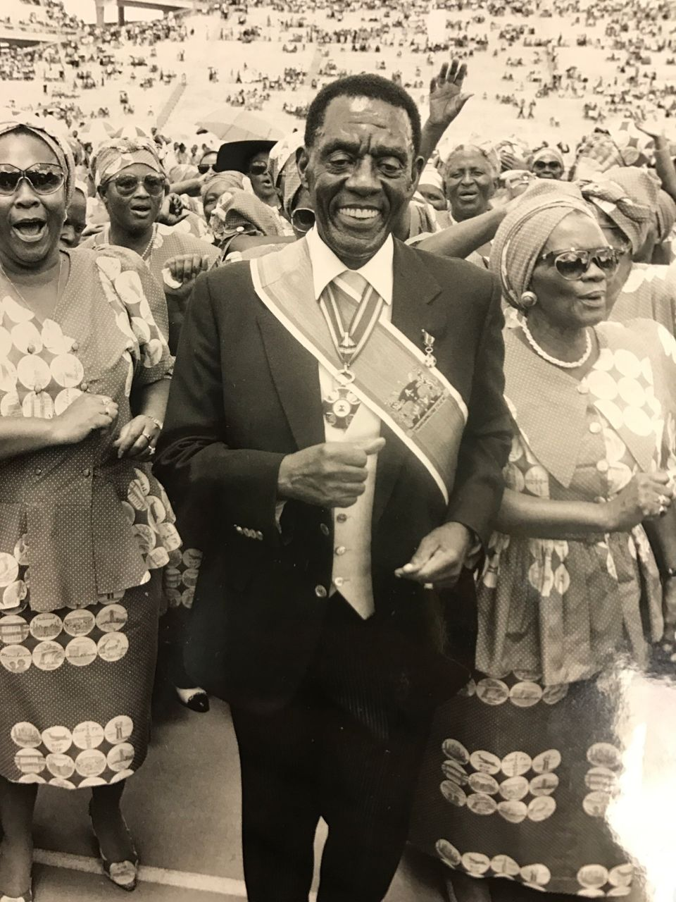 President Lucas Mangope of the independent homeland of