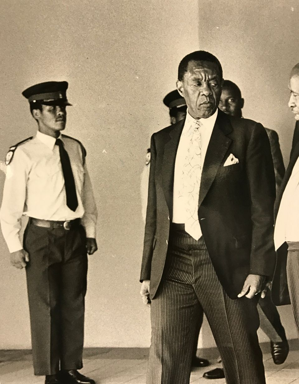 Lucas Mangope at Bophuthatswana's 13th independence celebrations on December 6