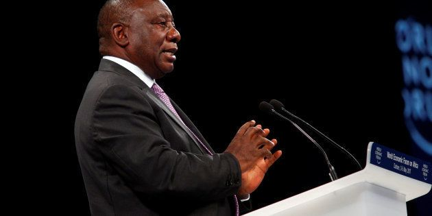 South African Deputy President Cyril Ramaphosa speaks at the World Economic Forum on Africa 2017 meeting...