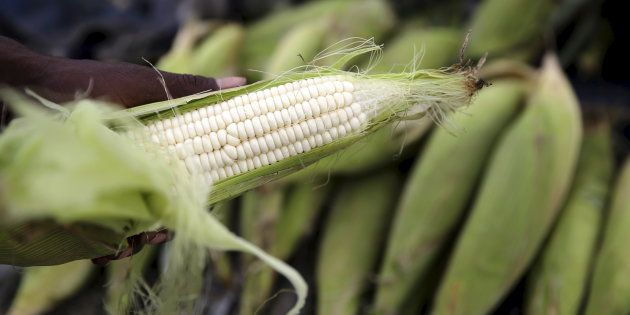A hawker prepares a cob of corn at his makeshift shop in Soweto, January 27,