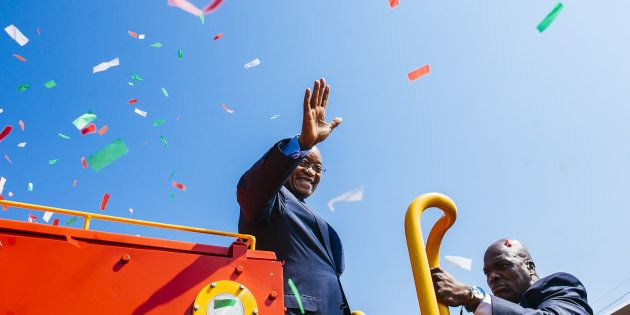 South African President Jacob Zuma at the launch of a new Trans Africa locomotive at Transnet's engineering...