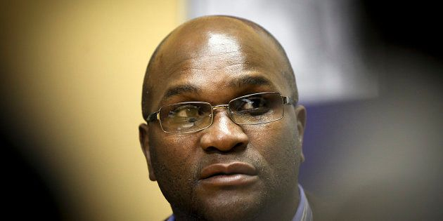 JOHANNESBURG, SOUTH AFRICA - AUGUST 01: (SOUTH AFRICA OUT) Police minister Nathi Mthethwa addresses the...