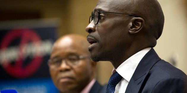 South Africa's Finance Minister Malusi Gigaba attends a news conference in Pretoria, South Africa April...