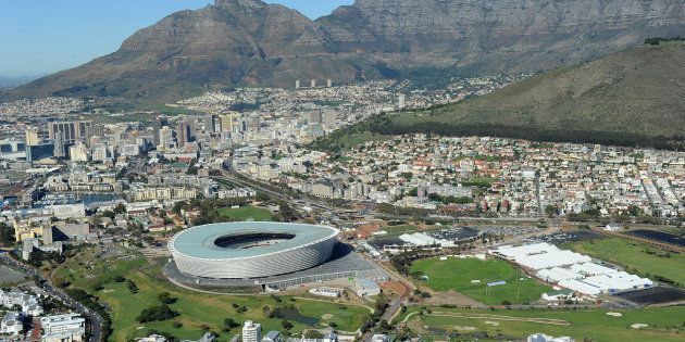 A View of Cape Town's Green Point Stadium with Table Mountain in the