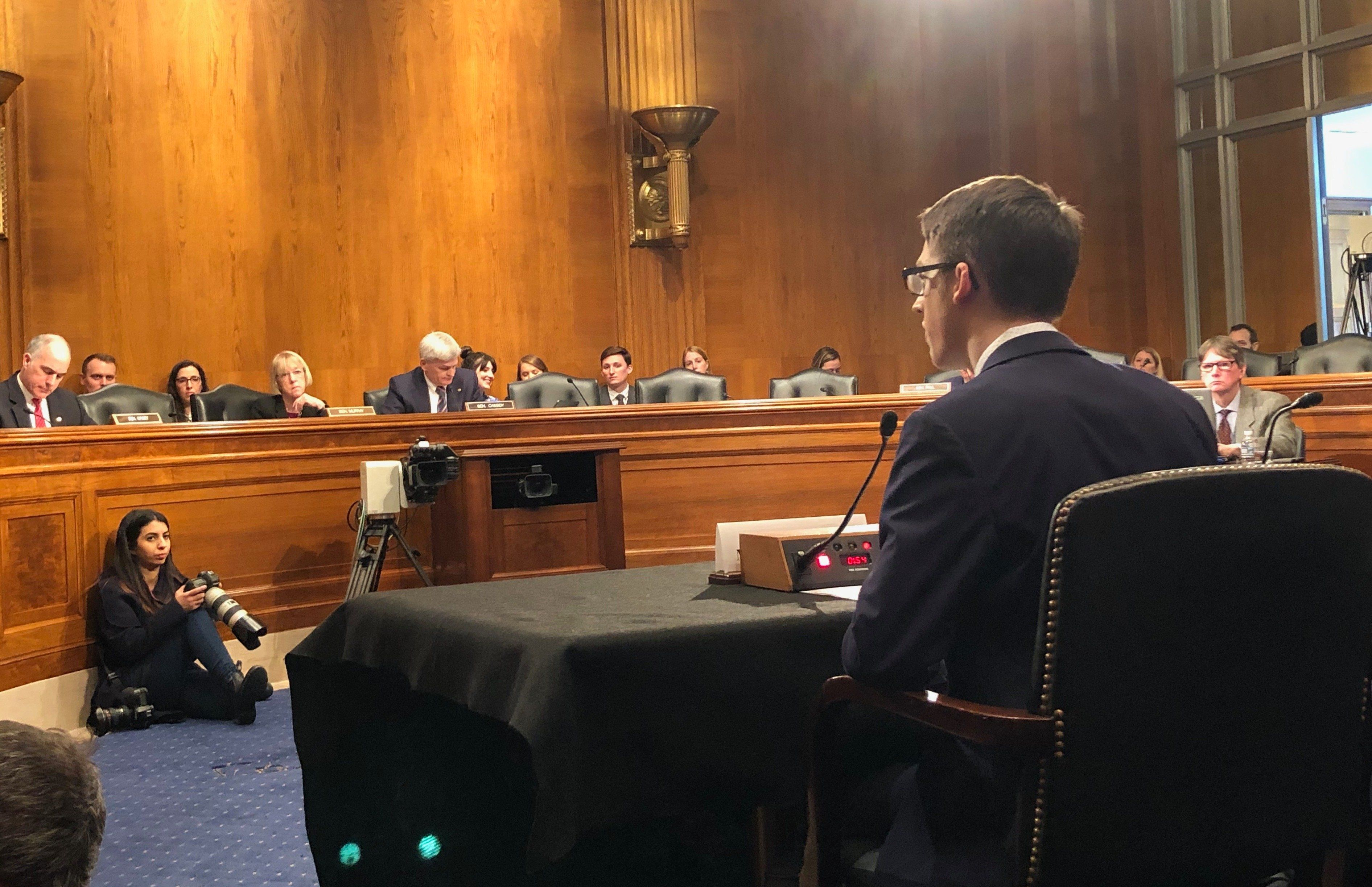 Ethan Lindenberger testifies during a hearing before the Senate Committee on Health, Education, Labor and Pensions on Capitol Hill in Washington, DC, on March 5, 2019. (Photo: Alexander Nazaryan/Yahoo News)