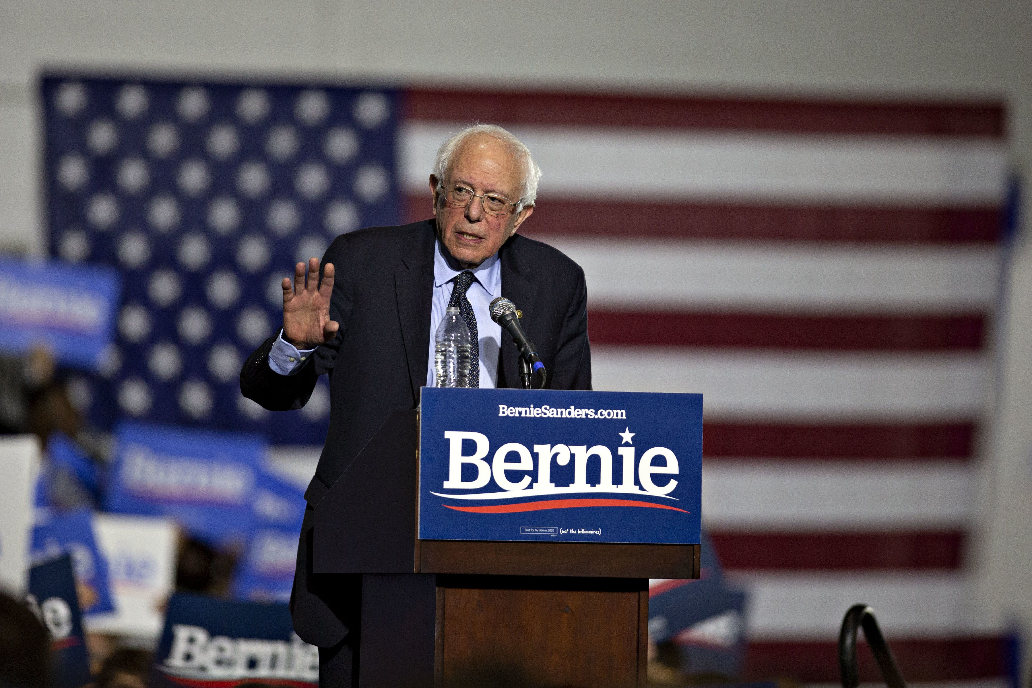 Senator Bernie Sanders, an Independent from Vermont and 2020 presidential candidate, speaks during a campaign rally in Chicago, Illinois, U.S., on Sunday, March 3, 2019. The Vermont senator has positioned himself in opposition to Trump administration policies from immigration to climate change, and many of his populist ideas have been embraced by the mainstream of the Democratic party. Photographer: Daniel Acker/Bloomberg via Getty Images