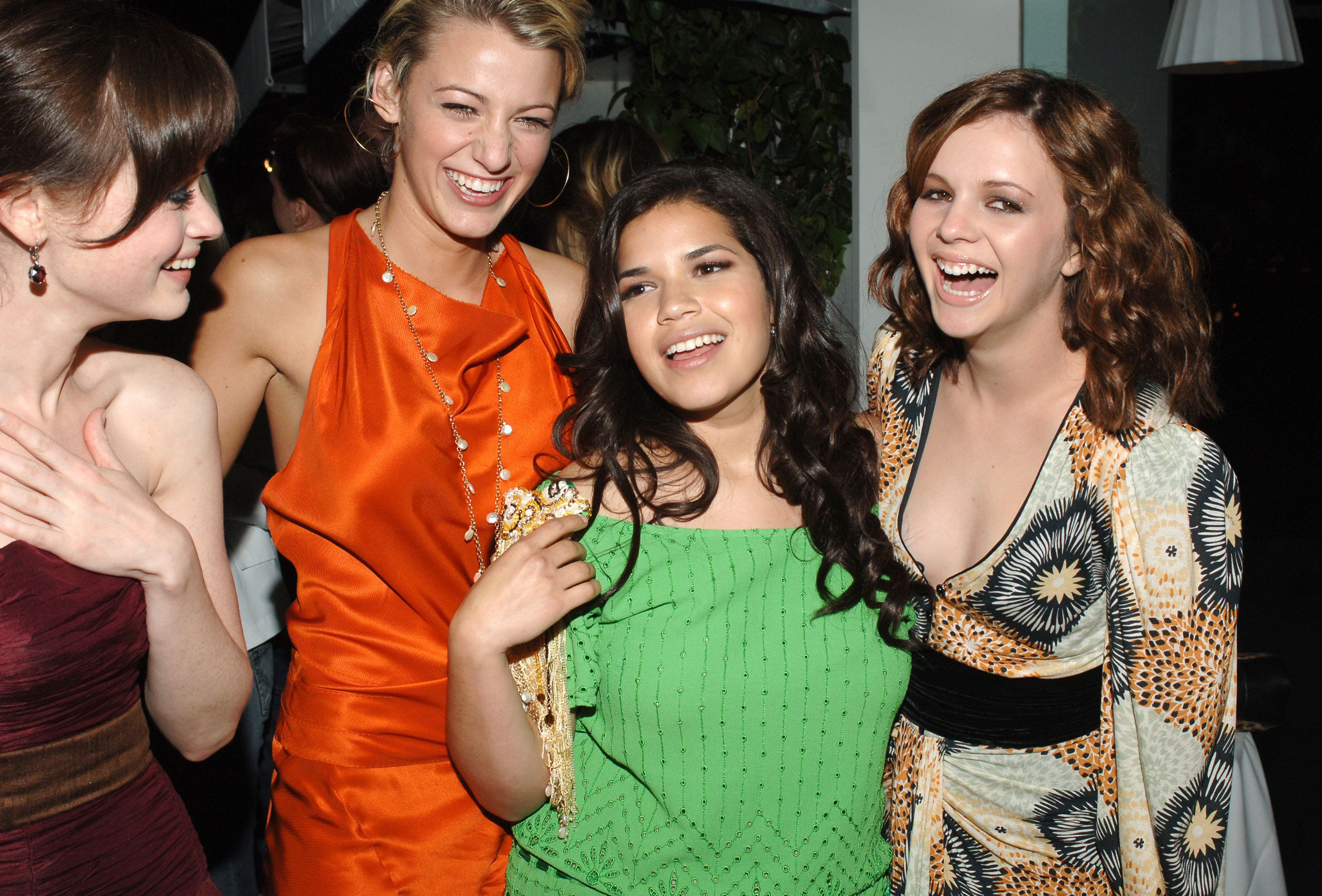 "Alexis Bledel, Blake Lively, America Ferrera and Amber Tamblyn during the premiere after-party for ""The Sisterhood of the Traveling Pants."""