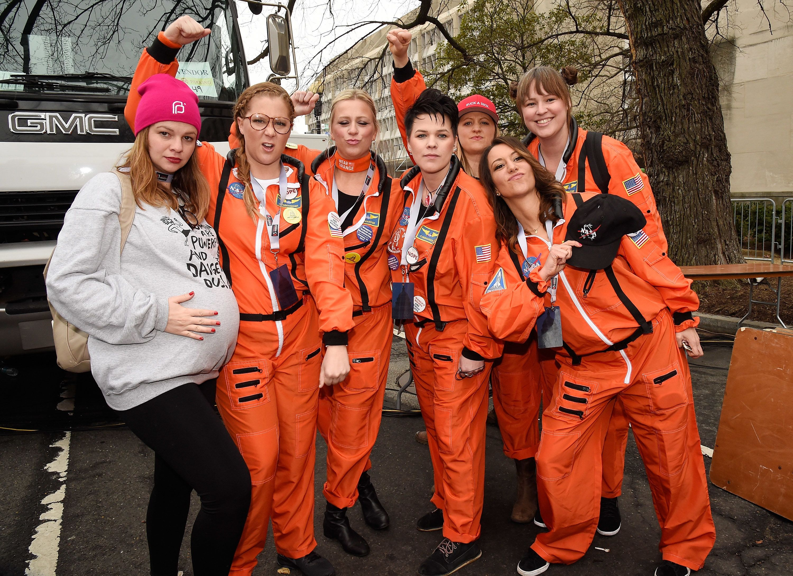 Amber Tamblyn, left, with Amy Schumer and others at the 2017 Women's March on Washington.