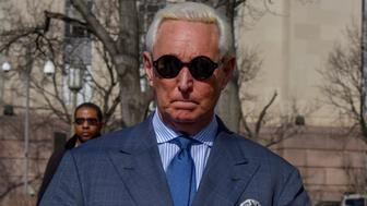 WASHINGTON, DC - FEBRUARY 21: Former Trump adviser Roger Stone makes his way to the E. Barrett Prettyman United States Court House on Thursday, February 21, 2019, in Washington, DC.  Stone was ordered to appear in federal court after posting to Instagram a picture of the judge overseeing his federal court case. (Photo by Jahi Chikwendiu/The Washington Post via Getty Images)