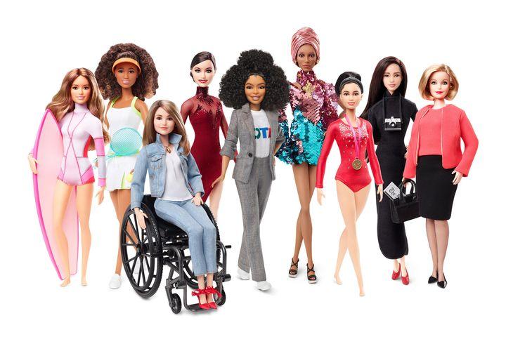 Barbie's shero shot, from left to right:Maya Gabiera, Naomi Osaka, Kristina Vogel, Tessa Virtue, Yara Shahidi, Adwoa Ab