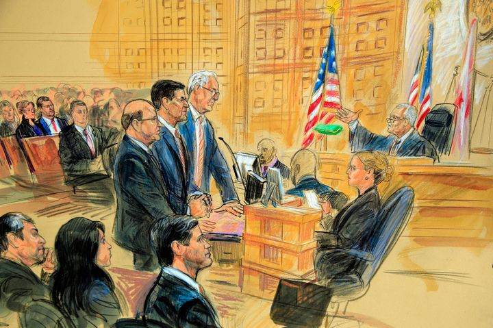 A courtroom sketch of former Trump national security adviser Michael Flynn at his sentencing hearing after pleading guilty to