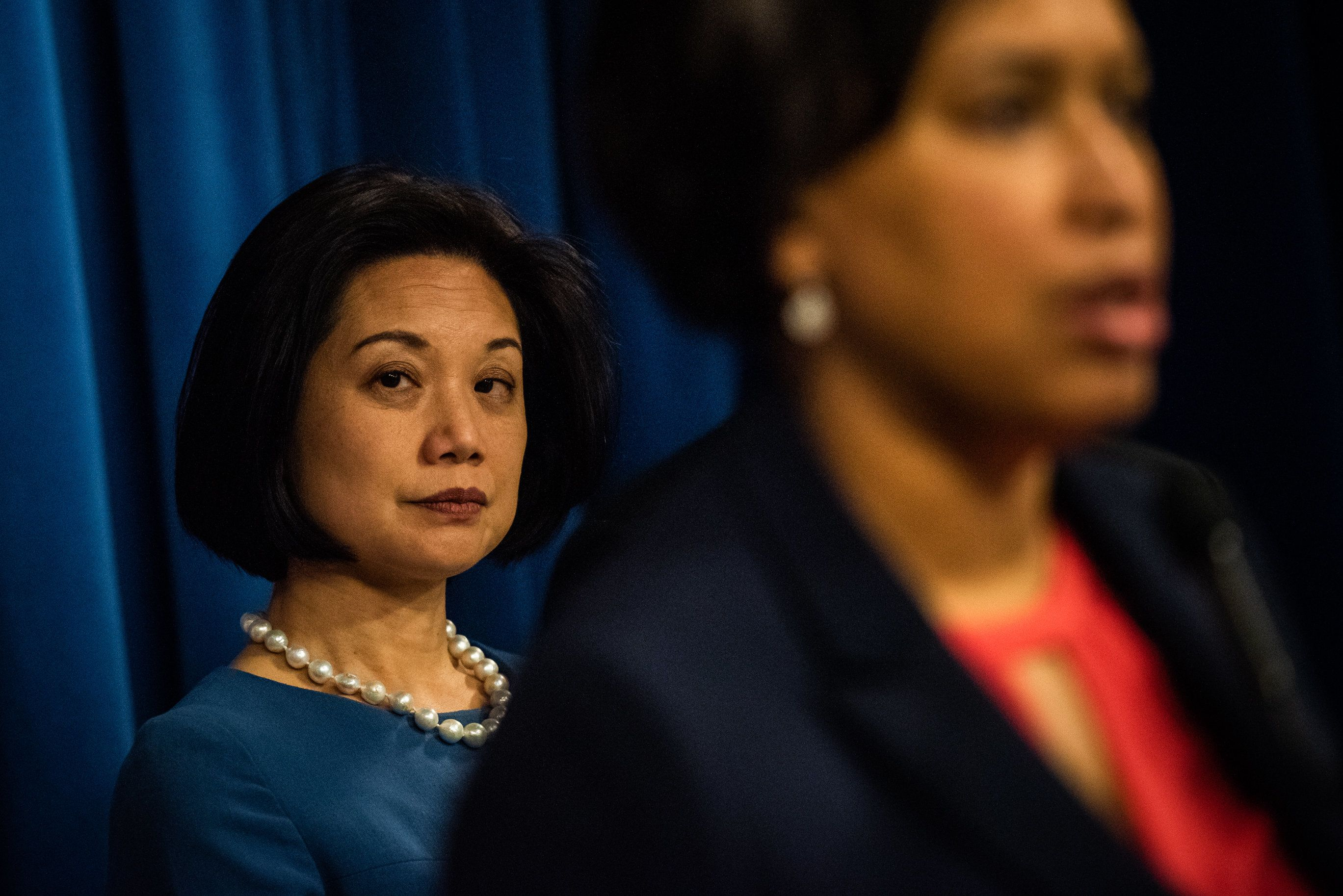 WASHINGTON, DC - FEBRUARY 6: United States Attorney for the District of Columbia Jessie K. Liu looks on as D.C. Mayor Muriel Bowser speak during a press conference on Wednesday, February 6, 2019, in Washington, D.C. The press conference included collective strategies to reduce violent crime and illegal gun possession in the District. (Photo by Salwan Georges/The Washington Post via Getty Images)