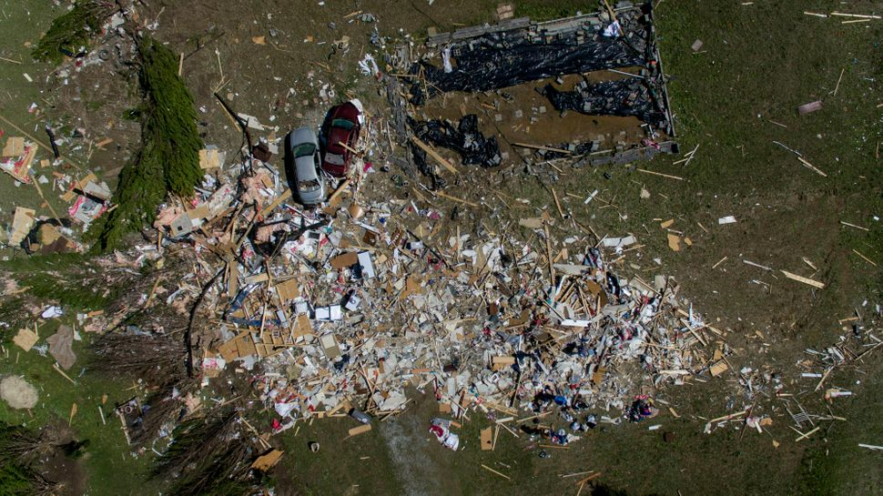 The tornado blew a home clean off its foundation in Beauregard, Alabama on Tuesday.