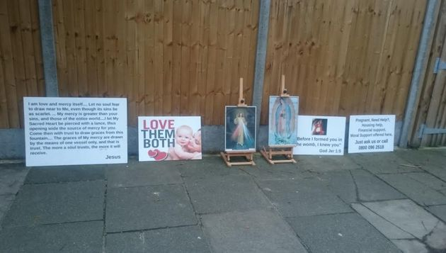 Placards left outside the BPAS