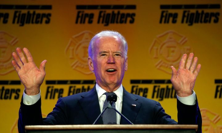 Former Vice President Joe Biden speaks to International Association of Fire Fighters members at at a union conference in 2015