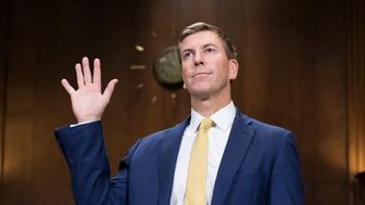UNITED STATES - OCTOBER 10: Chad A. Readler, nominee to be U.S. Circuit Judge for the Sixth Circuit, is sworn in to a Senate Judiciary Committee hearing on judicial nominations in Dirksen Building on October 10, 2018. (Photo By Tom Williams/CQ Roll Call)