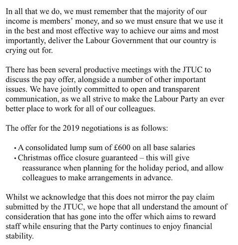 Labour management's latest pay