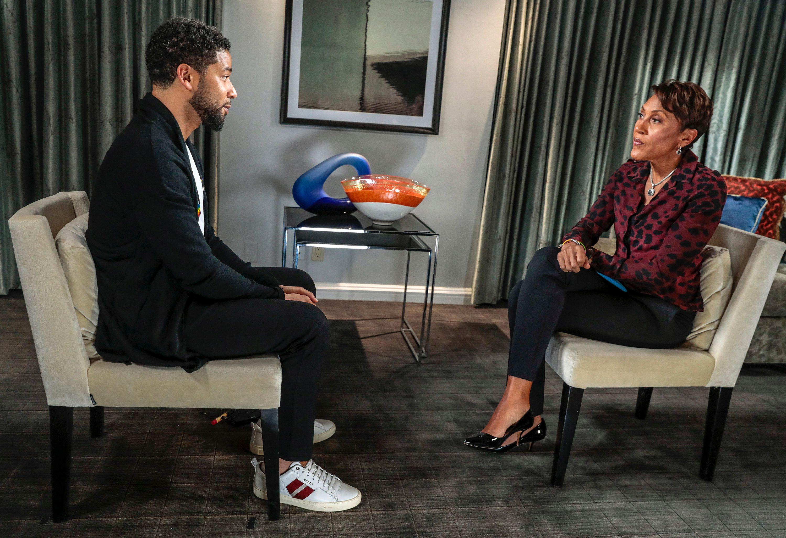 GOOD MORNING AMERICA - Robin Roberts interview with actor Jussie Smollett airs Thursday, February 14, 2019 on ABC's 'Good Morning America.' (Photo by Stephen Green/ABC via Getty Images) JUSSIE SMOLLETT, ROBIN ROBERTS