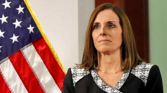 FILE - In this Dec. 18, 2018 file photo, then Rep. Martha McSally, R-Ariz., waits to speak during a news conference at the Capitol in Phoenix. Sen. Martha McSally, R-Ariz., the first female fighter pilot to fly in combat, says she was raped in the Air Force by a superior officer. (AP Photo/Matt York)