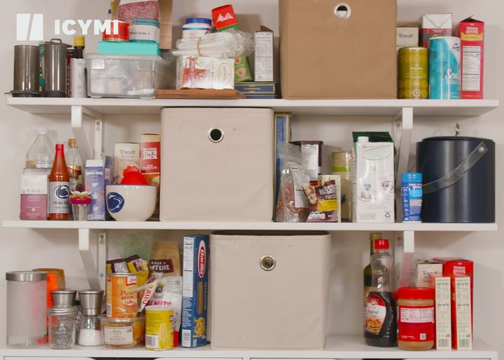 Sarah's messy pantry before the professional organizer arrived.