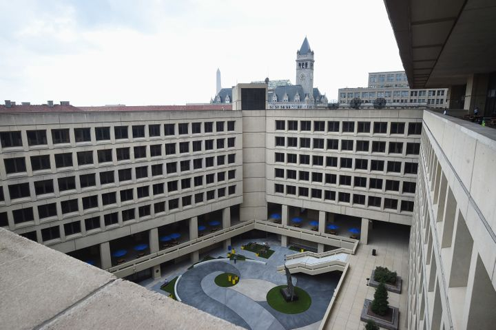 The courtyard of the FBI's J. Edgar Hoover building with the Old Post Office building, which houses the Trump International H