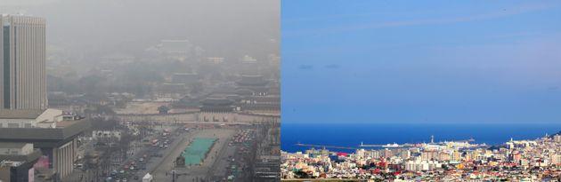 수도권에 사상 처음 엿새 연속 비상저감조치가 발령된 6일 오전 서울 종로구 광화문 일대(왼쪽)가 희뿌옇게 보이고 있다. 오른쪽은 미세먼지 농도가 '좋음' 수준을 보인 제주시 하늘