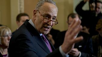 Senate Minority Leader Chuck Schumer, a Democrat from New York, speaks during a news conference after a Democratic conference meeting at the U.S. Capitol in Washington, D.C., U.S., on Tuesday, March 5, 2019. Senate Republicans must decide whether to stop President Donald Trump from using an emergency declaration to pay for his border wall, and support from just four GOP members might be enough to send him a measure blocking his plan. Photographer: Andrew Harrer/Bloomberg via Getty Images
