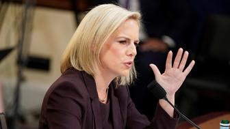 """Department of Homeland Security Secretary Kirstjen Nielsen testifies before a House Homeland Security Committee hearing on """"The Way Forward on Border Security"""" on Capitol Hill in Washington, U.S., March 6, 2019. REUTERS/Joshua Roberts"""