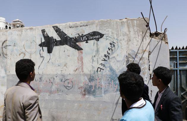 Ein Graffiti einer US-Drohne im